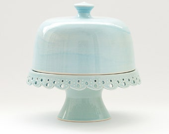 "Cake Stand and Dome - 7"" - Lace - MADE TO ORDER"