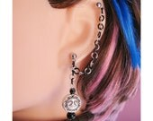 Moon And Sun Cartilage Chain Earring Double Piercing Or Ear Cuff In Black And Silver