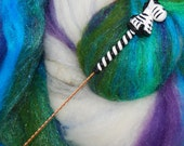 Zebra Spinning Wheel Orifice Hook - Polymer Clay