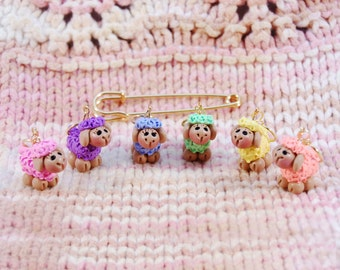 Pastel Colored Sheep knitting or crochet stitch markers - Set of 6 - Polymer Clay