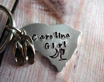 South Carolina Keychain, Hand Stamped, Carolina Girl Key Ring, Flip Flop Charm, Stainless Key Ring, Half Moon, Girls Christmas