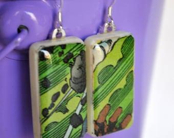 Mini Domino Earrings - Green Recycled Comic Book Earrings - Game Piece Jewelry