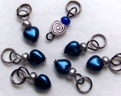 SJK Tinies -- Delicate Stitch Markers for Small Needles -- Eeny Hearts (Metallic Blue)