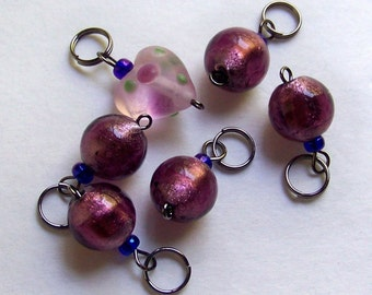 Hand Made Stitch Markers -- Frosted Lilac