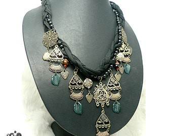 CLEARANCE SALE 50% OFF - Bronze Ethnic Antique-style Charm Braid Necklace
