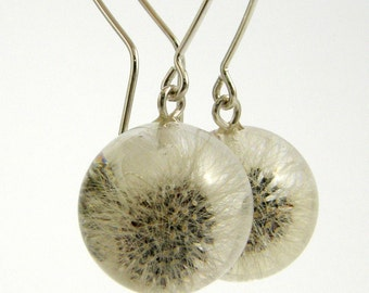 Full Dandelion Earrings, Resin Silver Earrings, Dandelion Jewelry, Bridal Jewelry, Bridal Earrings, Bridesmaid Earrings