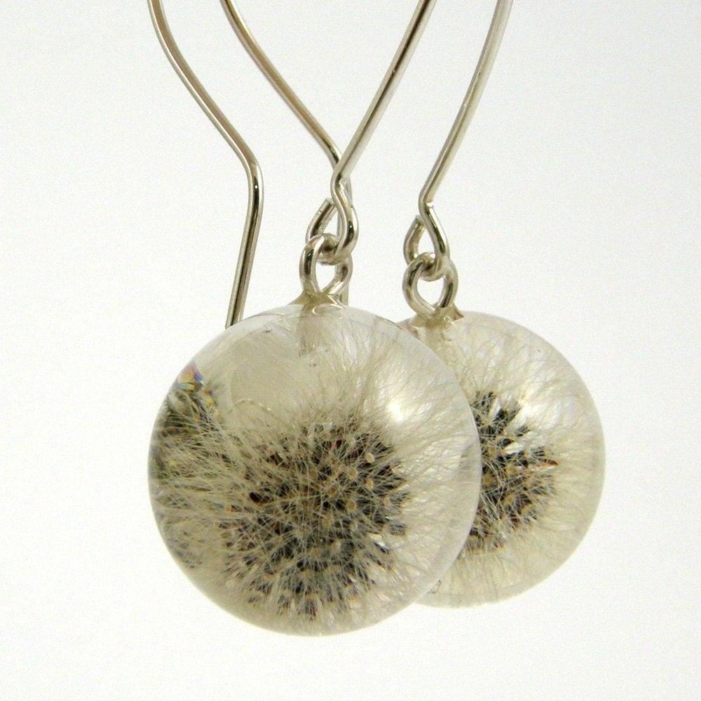 dandelion earrings resin silver earrings dandelion
