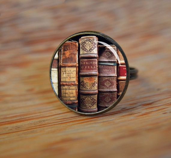 Antiqued Book Ring Bookworm Ring Glass Picture Ring Glass Ring Adjustable Ring 344
