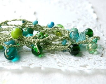 Crocheted Beaded Necklace - Green