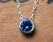 Sapphire necklace - September birthstone - sterling silver - imitation blue sapphire - bezel necklace - wrought collection - navy blue