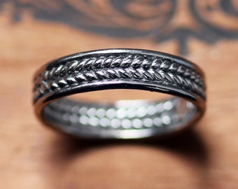 White gold wedding band mens, braided wedding band, braided wedding ring, woven wedding band, mens wedding band white gold recycled custom