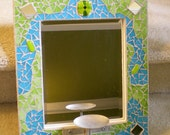 Blue and Green Stained Glass Mosaic Mirror with Candle Holder