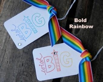 Set of 5 RAINBOW Wish Big Tags - Celebrate - Treat Bag Ties - Party Favor