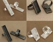 4x1pcs   12x53    silver white  pewter bezel rectangle ring  antique srlver pewter bezel rectang