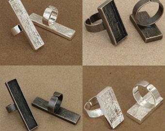 4x2pcs   12x53    silver white  pewter bezel rectangle ring  antique srlver pewter bezel rectang