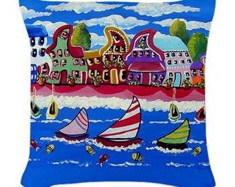 Whimsical Beach Sailboats Folk Art Pillow - Woven Throw Pillow Whimsical Art by Renie Britenbucher
