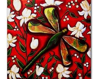 Dragonfly on White Flowers Red Whimsical Folk Art Ceramic Tile