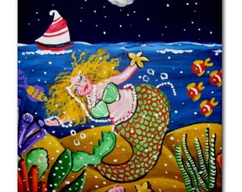 Green Mermaid Ocean Fun Whimsical Folk Art Ceramic Tile