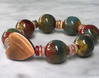 Chunky Boho Stretch Bracelet, Satin Copper Heart, Porcelain & Greek Ceramic Handmade Beads... Stackable, Trendy, Rich Colors