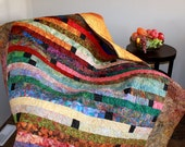 "Handmade Batik Strip Lap Quilt, Sofa Throw, RAINFOREST 71"" x 81"" twin bed Quilt"