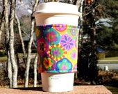 Fabric coffee cozy / cup sleeve / coffee sleeve - Millifiori in Violet