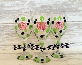 preppy personalized JUMBO wine glasses