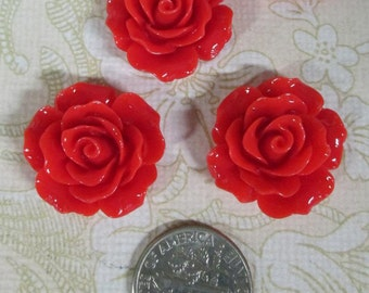 10 red 20mm rose resin cabochons, beautiful flower cabs