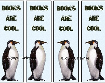 Printable Bookmarks, Artwork of a Penguin, Books are Cool, School Teachers, Kids Party Favors: Instant Download