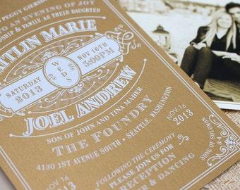 Vintage Typography Wedding Invitation (White Ink) - Design Fee