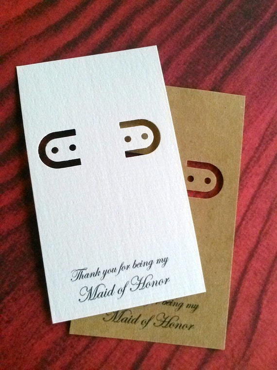 Maid Of Honor Card - 30 earring cards - lever back