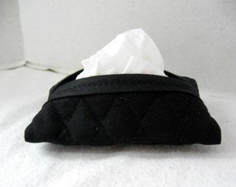 Black Quilted Tissue Holder Pocket Size