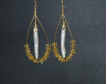 Golden Citrine Goddess Earrings