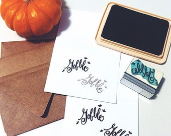 Gobble Thanksgiving day turkey calligraphy rubber stamp