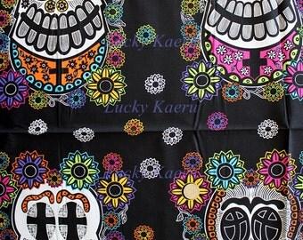 SALE Andover, Jesus Cruz, Mi Familia, Skull Panel Black Fabric - By the Panel