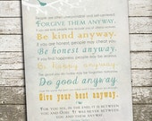Mother Teresa Quote Wall Art - Be Kind Anyway