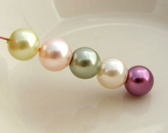Glass Pearl Bead Mix Round Berry Sorbet Designer Mix 8mm (Qty 20)