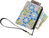 Pixy Roo Small Wristlet - coin purse - credit card purse - Zippered Pouch - Blue Fleur Flowers Fabric