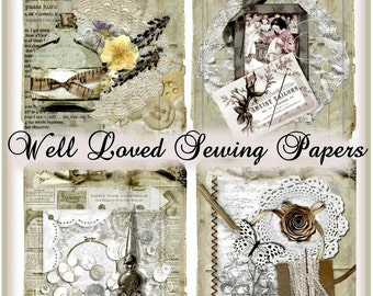 INSTANT DOWNLOAD Well Loved Sewing Papers Vintage Ephemera Collages Set of 4 Digital Printable