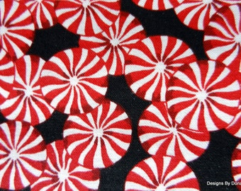 One Half Yard Cut of Quilt Fabric, Christmas Candy, Red and White Round Peppermint Candy on Black, Sewing-Quilting-Craft Supplies
