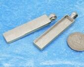 10pcs 13x53.5mm silvery tone Pewter blank bezel rectangle Pendant Tray