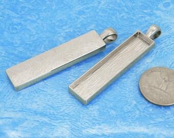 5pcs 13x53.5mm silvery tone Pewter blank bezel rectangle Pendant Tray