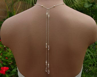 Bridal Lariat Necklace with Swarovski Pearls, Crystals and Teardrops with Backdrops - Handmade Wedding Jewelry