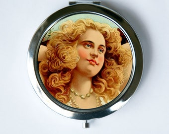 Victorian Women Compact Mirror retro vintage illustration