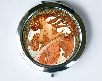 Art Nouveau Compact Mirror Pocket Mirror Girl flowing red hair