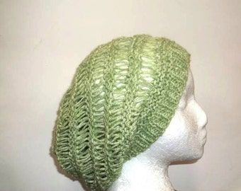 Lime green open weave slouch hat  handmade size large 4660