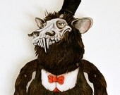 Krampus Holiday Decoration. Monster paper puppet. Popular Nordic Victorian folklore myth art doll for the Christmas holidays.