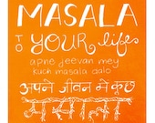 "Hindi Art, Indian Art, Masala, Kitchen Art, Handlettering, Saturday School, Devanagari Wall Art - ""Masala"""
