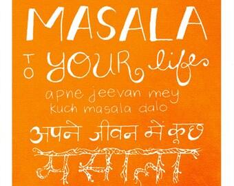 "Hindi Art, Indian Art, Masala, Kitchen Art, Handlettering, Saturday School, Devanagari Wall Art - ""Masala"""