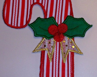 Christmas candy cane fabric  applique iron on or sew on patch, 2 sizes
