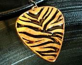 Zebra Stripes, Engraved Copper Guitar Pick Necklace